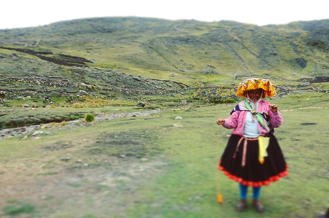 A Peruvian woman in traditional dress