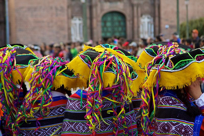 Parading through the streets in Cuzco!