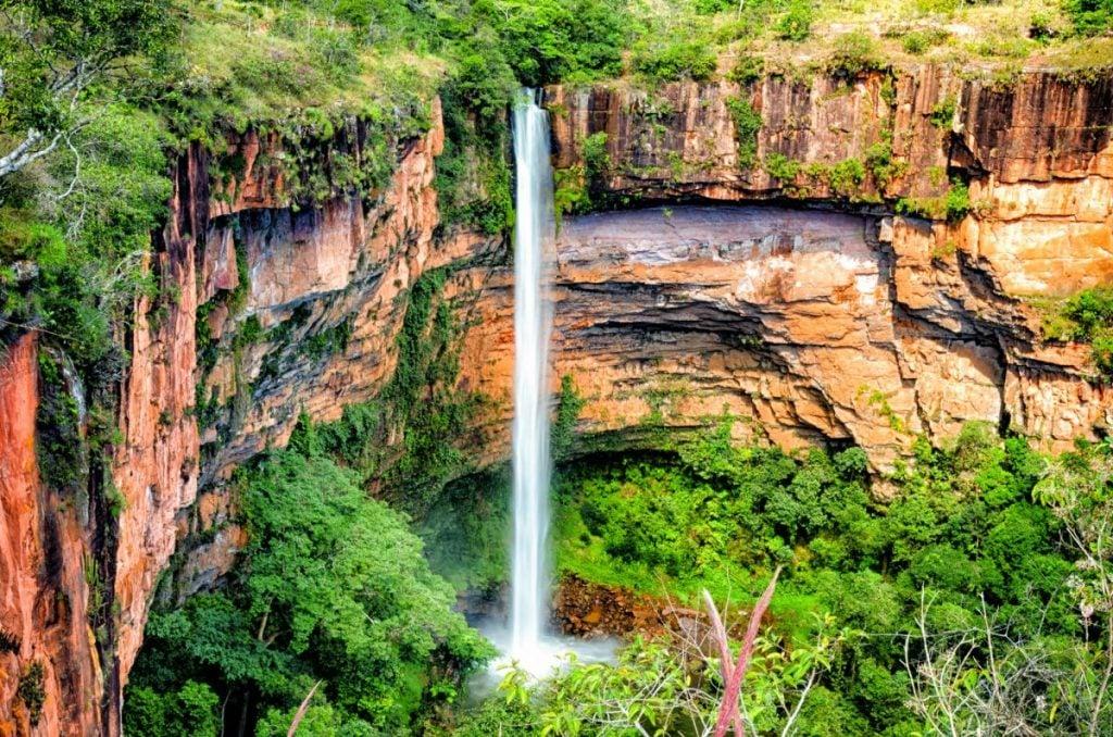 Véu de Noiva waterfall in Chapada dos Guimarães Brazil.