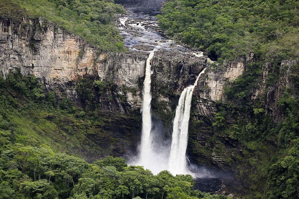 Dual Waterfalls in Chapada dos Veadeiros Brazil