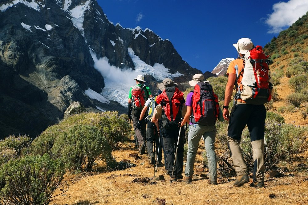 hikers in peru suited up