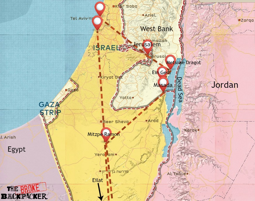 Israel backpacking route