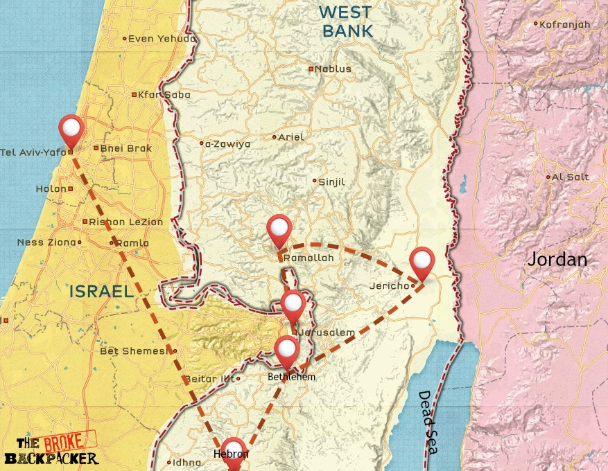 Palestine backpacking route map