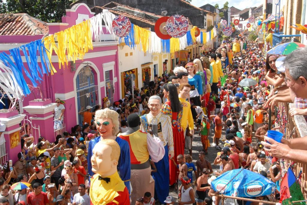 Olinda Carnaval with crowd of People Brazil