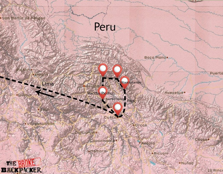 Map of Peru's Sacred Valley itinerary