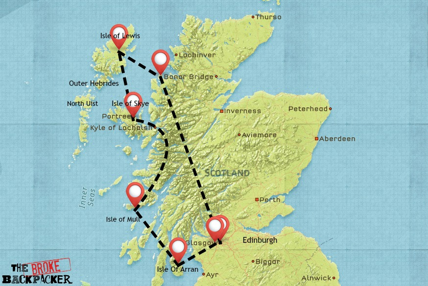 Scotland backpacking itinerary map