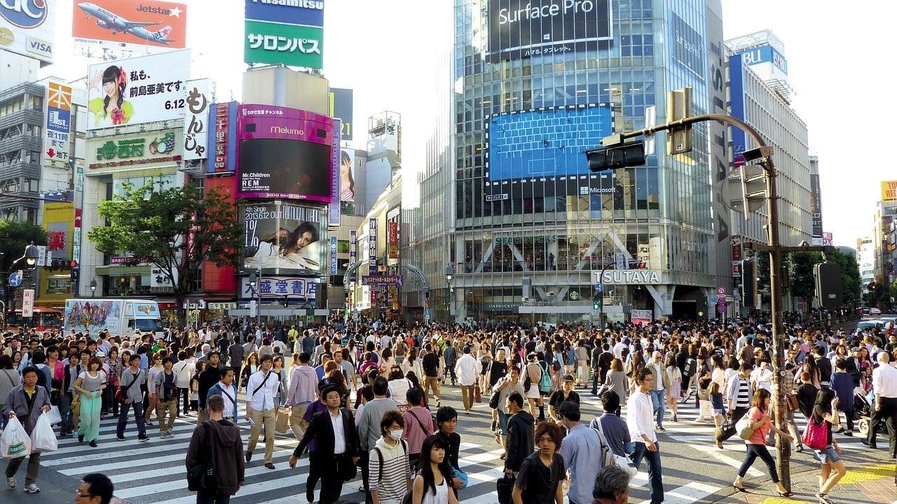 The Scramble - the famous crosswalk in Shibuya, Tokyo