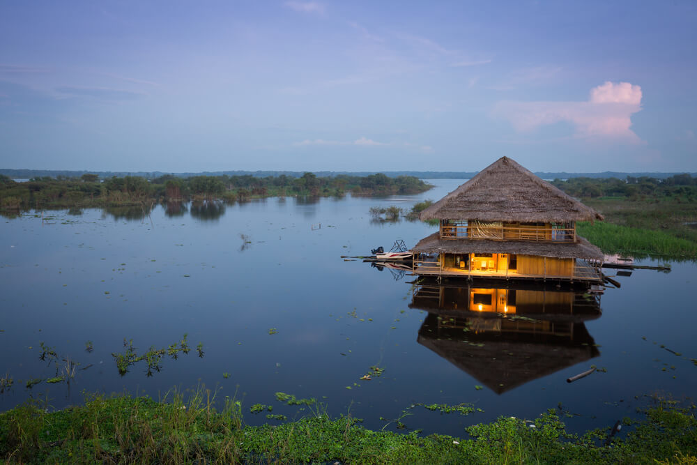 A floating lodge in the Amazon