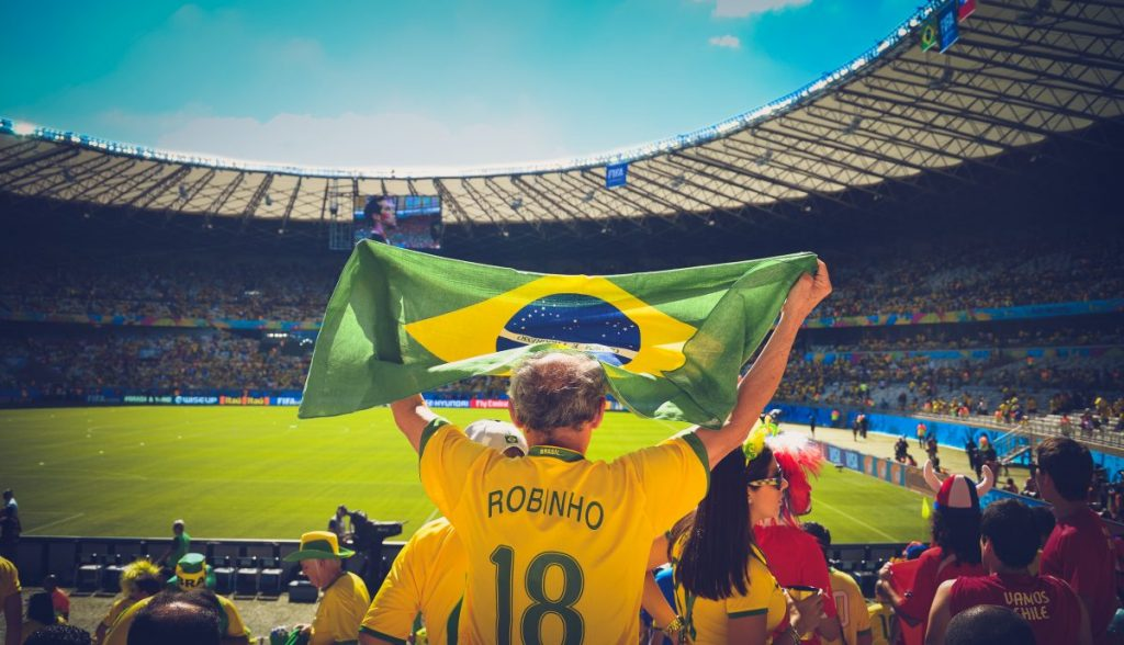 Brazilian fan at the football game Brazil.