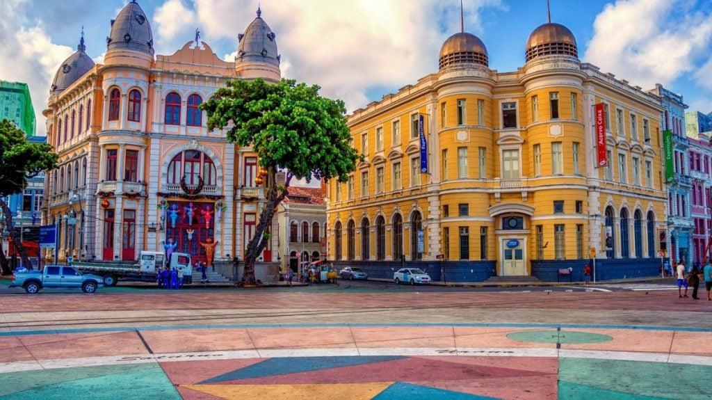 Colorful Colonial Architecture in Recife Brazil
