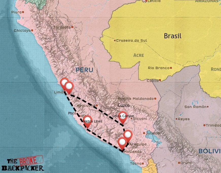 Map of South Peru itinerary