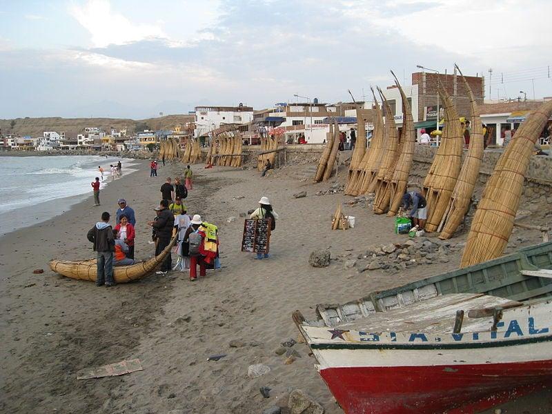Peru fishing boats at Huanchaco