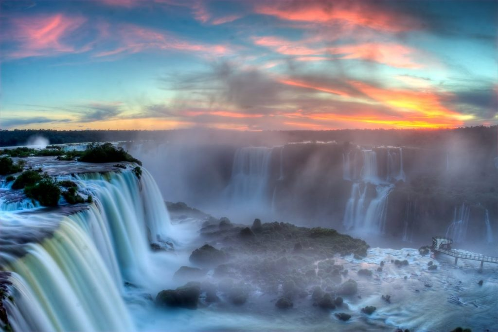 Sunset at Iguacu Falls from the Argentinian Side