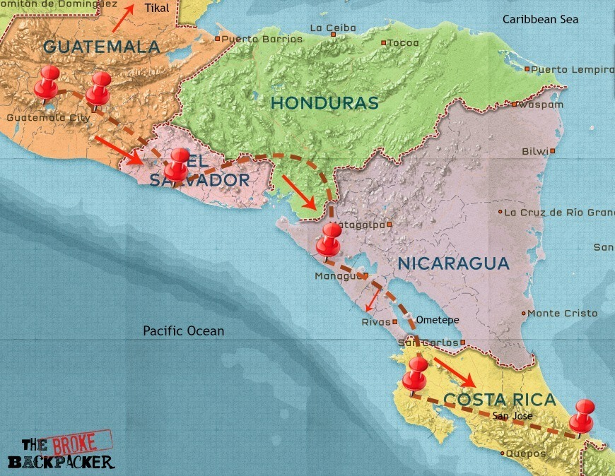 central america backpacking route