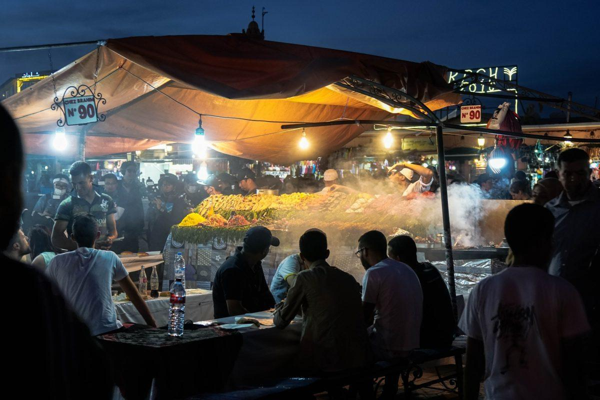 square in Marrakech morocco street food