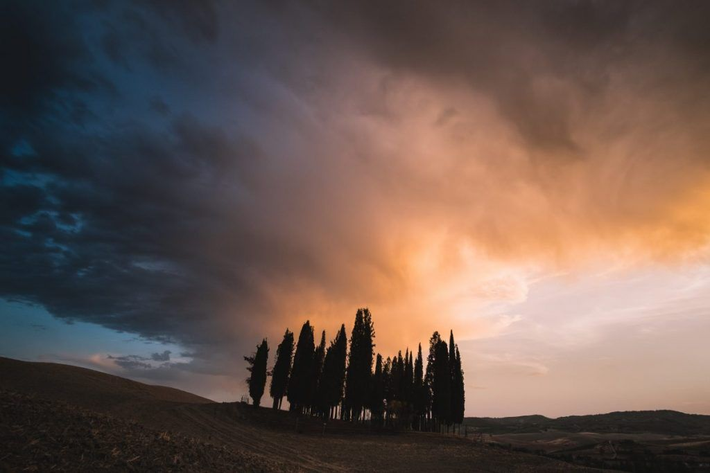 sunset in tuscany italy