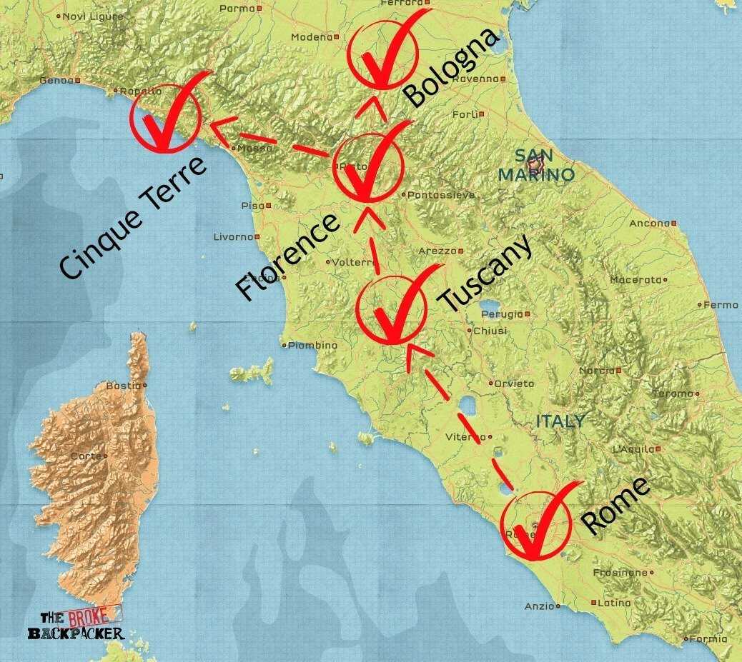 backpacking italy 14 day itinerary