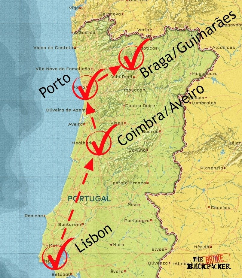 backpacking portugal itinerary map 10 days