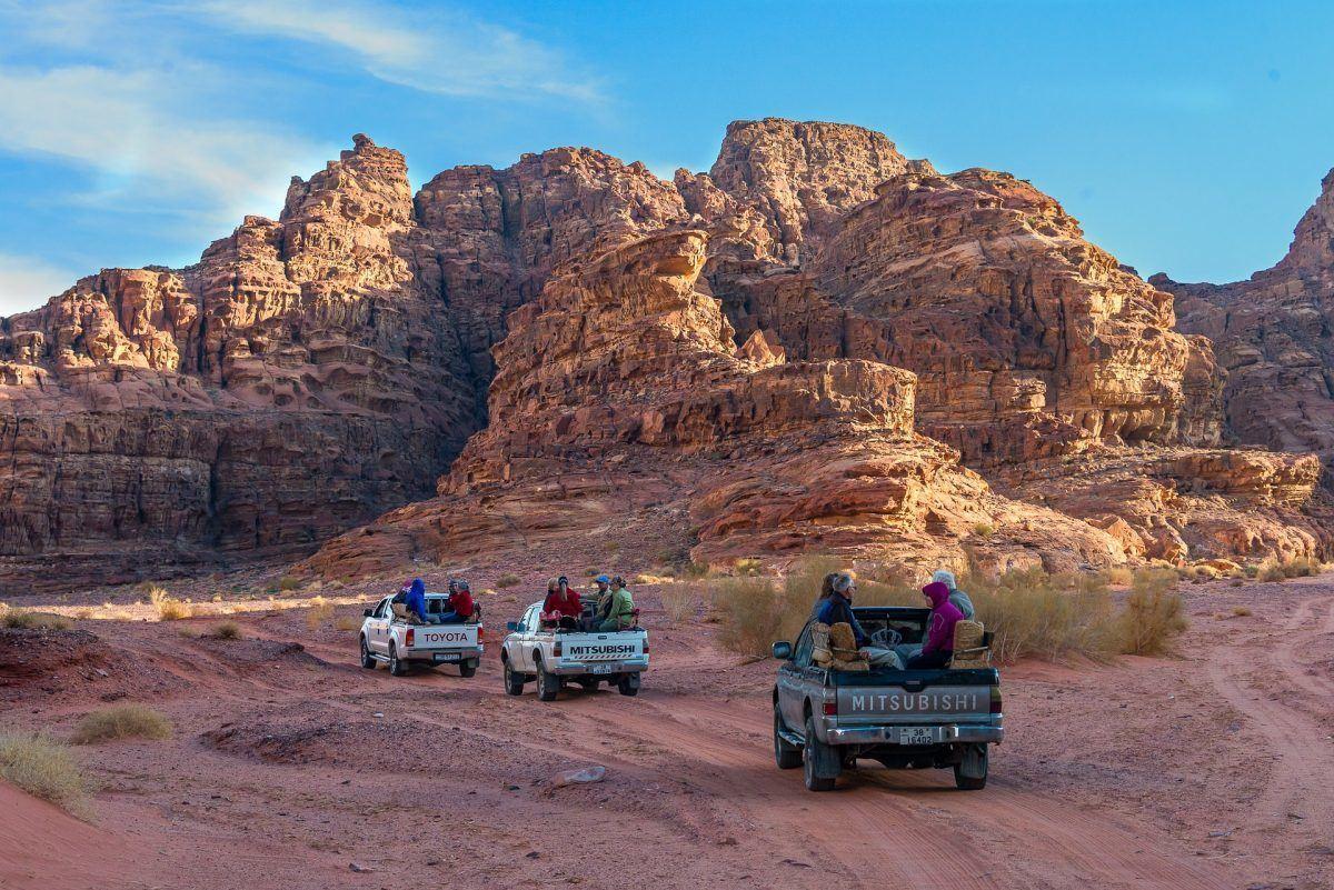 Bedouin caravan traveling in the wadi rum of jordan