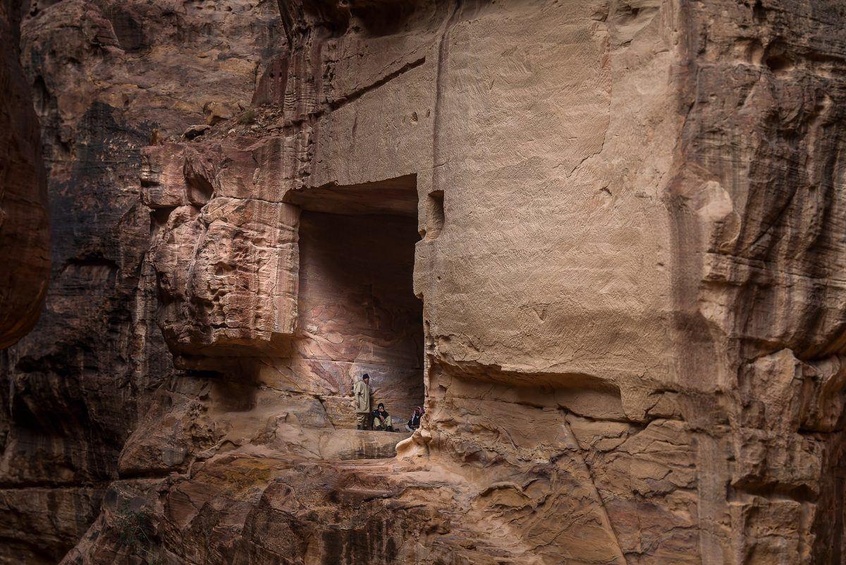 bedouins in the caves of petra jordan