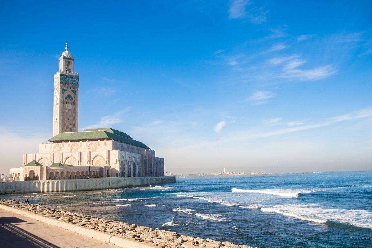 casablanca mosque by sea