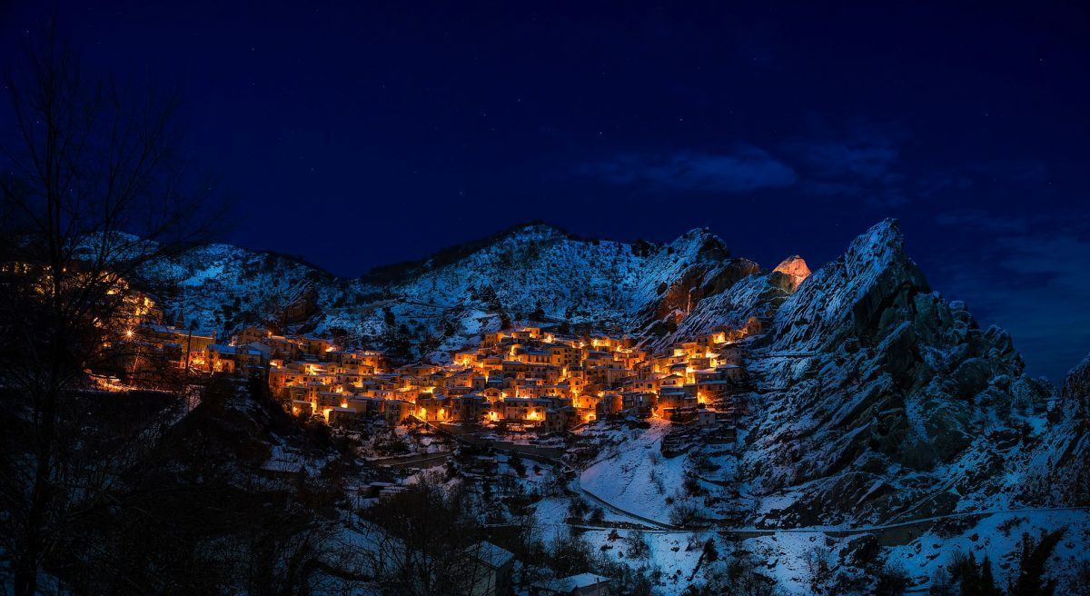 castelmezzano covered in snow italy