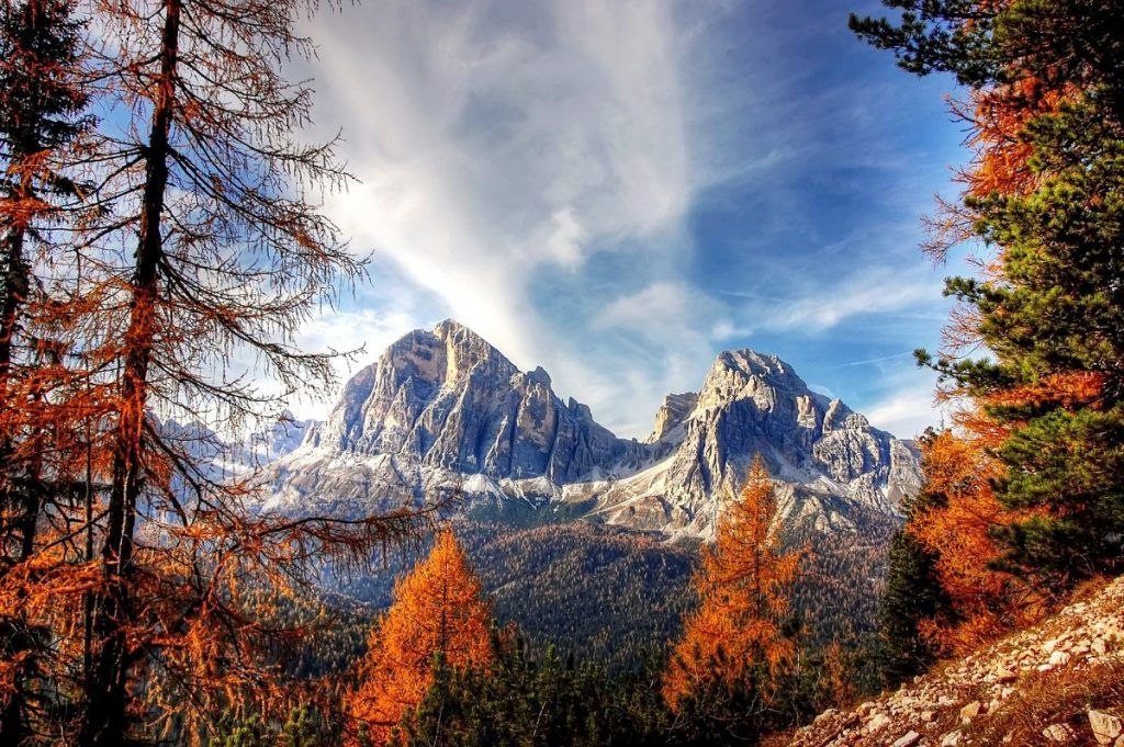 dolomite mountains in the autumn italy