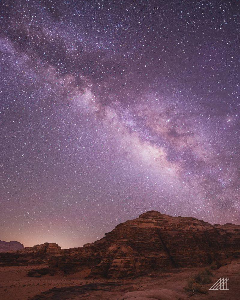 galactic center in the wadi rum of jordan and stars