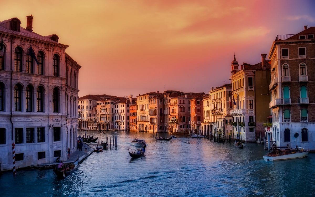 sunset on the grand canal in venice italy