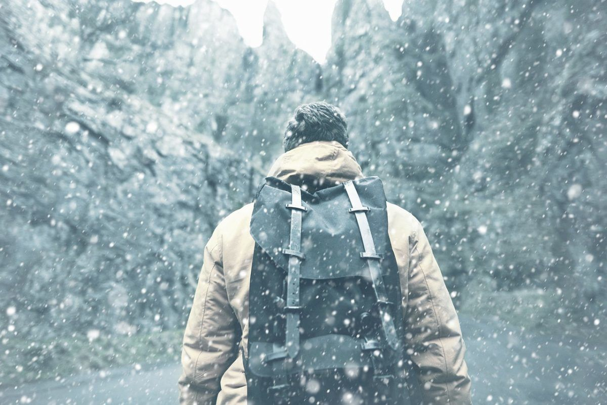 a most durable backpack in snowy mountains