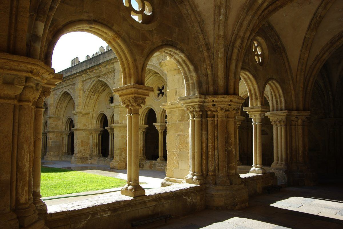 Pillars and hallways of monastery in coimbra