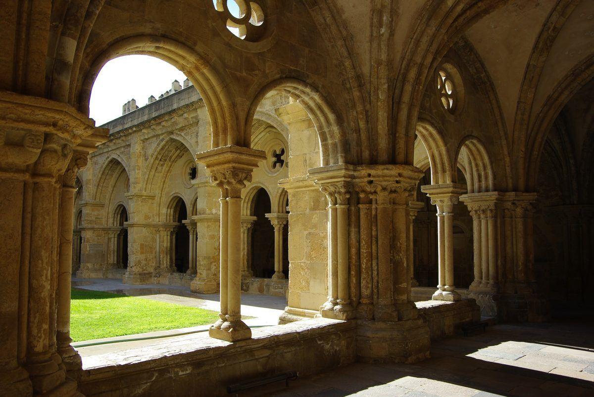 Pillars and hallways of monastery in coimbra