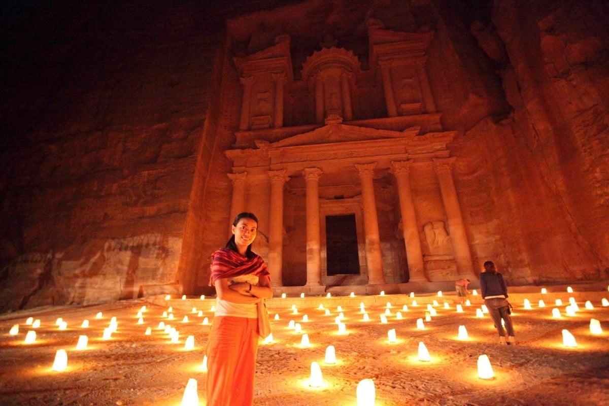 candles light up petra at night in jordan