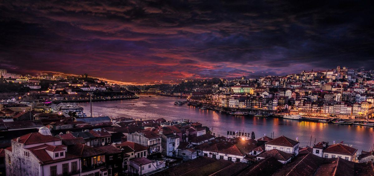 Porto and Villa nova de gaia at dusk portugal