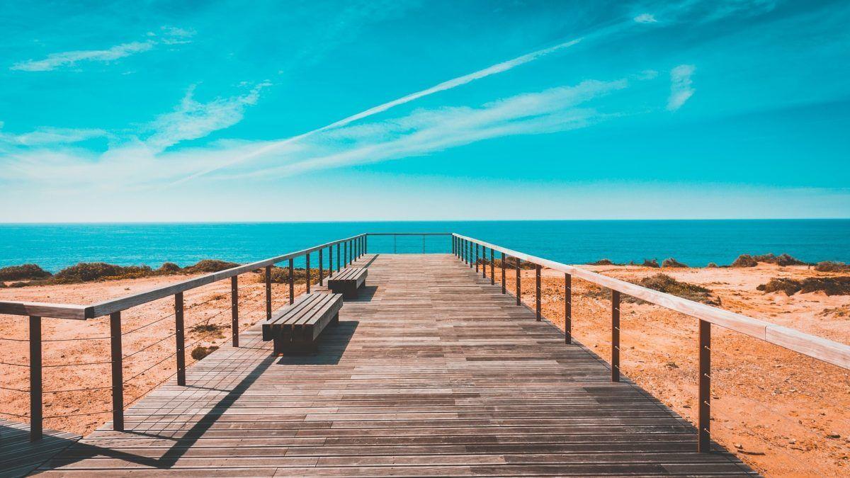 boardwalk on the beach in portugal
