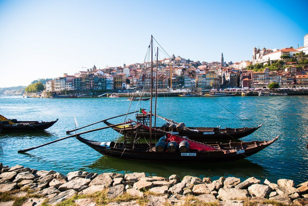 docked boat in the douro river of porto portugal