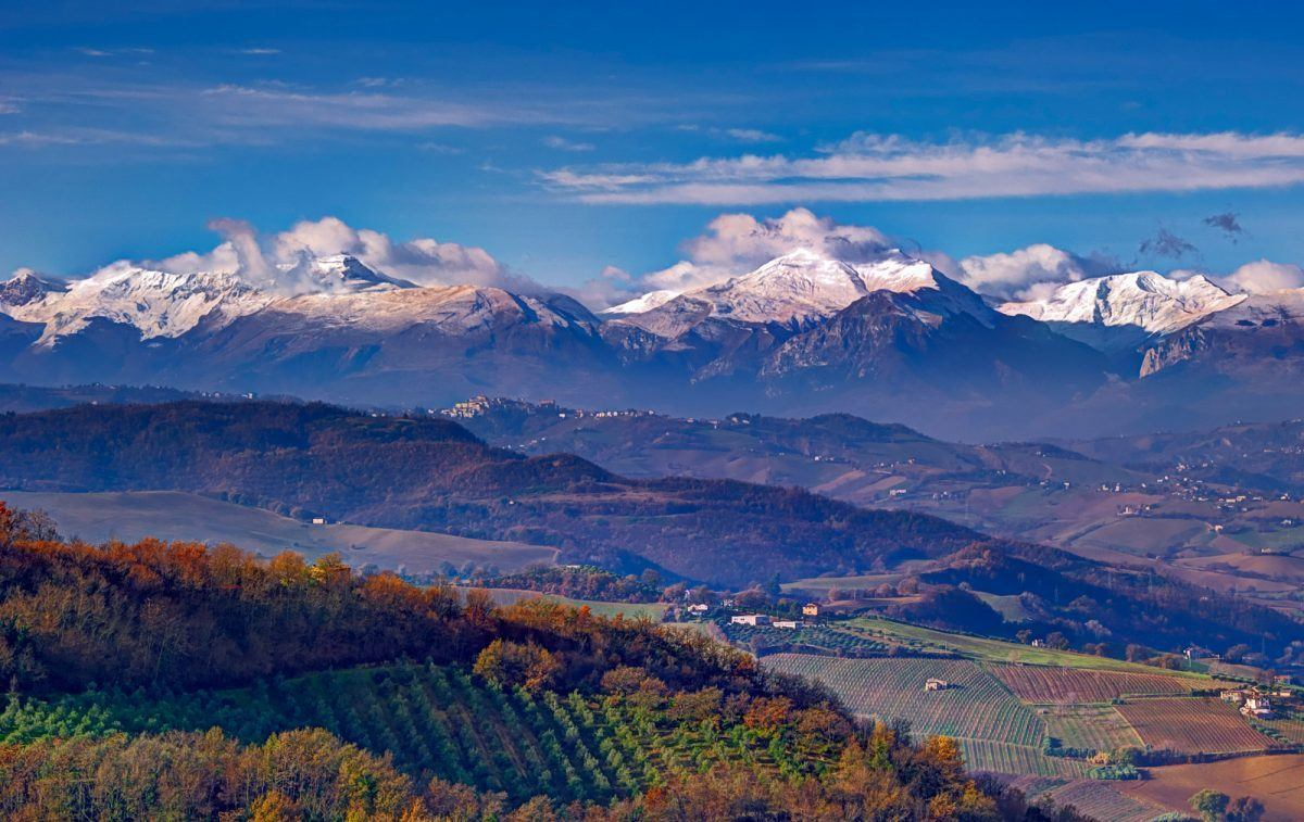 sibillini mountains covered in snow in marche italy
