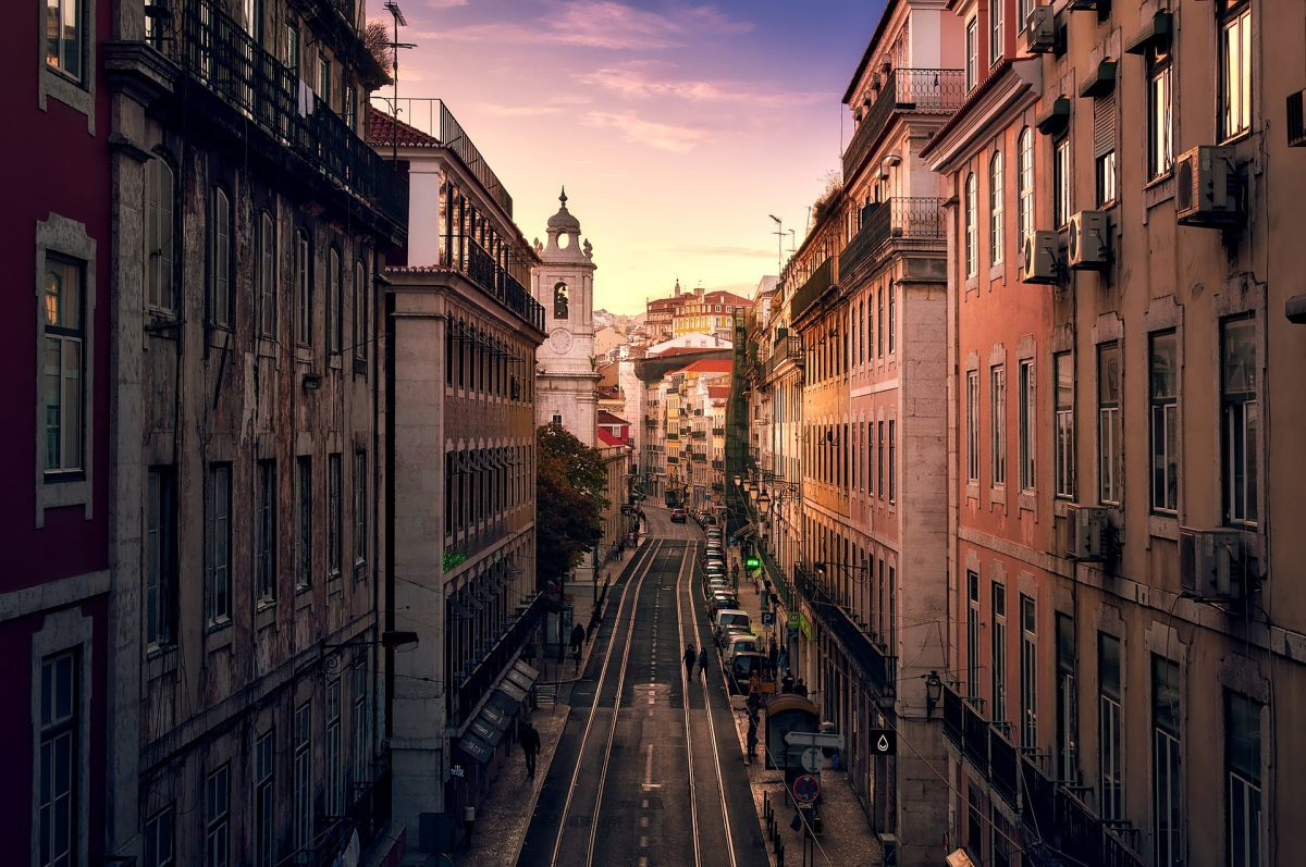 City Street of Lisbon at Dusk Portugal