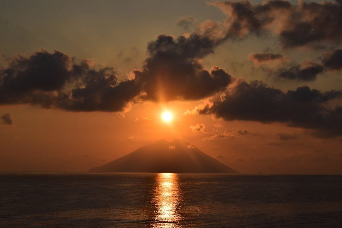 stromboli and fiery clouds sicily