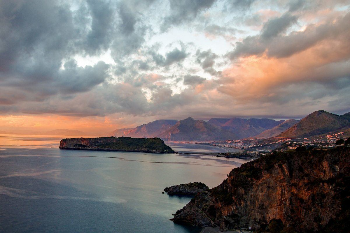sunset at praia a mare calabria italy