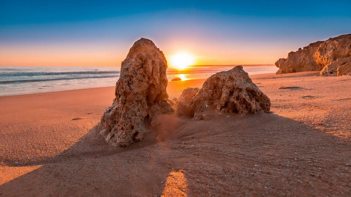 Sunset on a beach in the algarve portugal