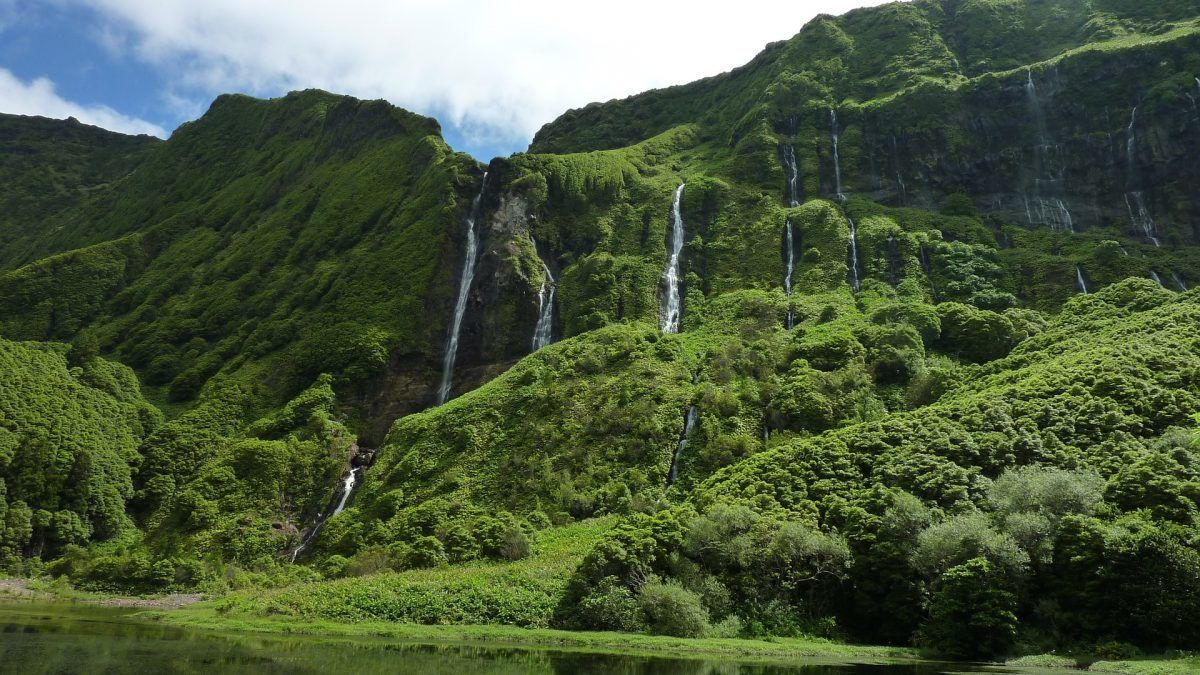 waterfalls of sao miguel island azores portugal