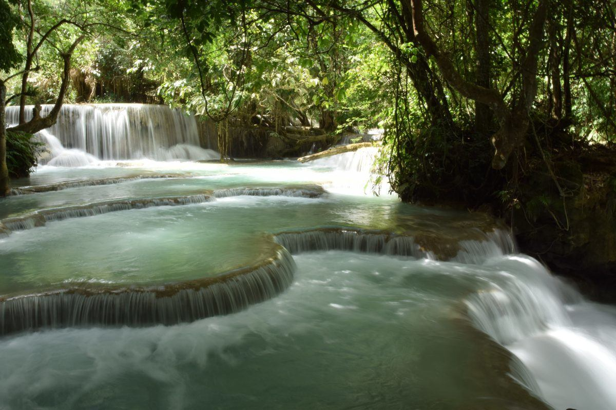 beautiful turquoise waterfalls in Laos