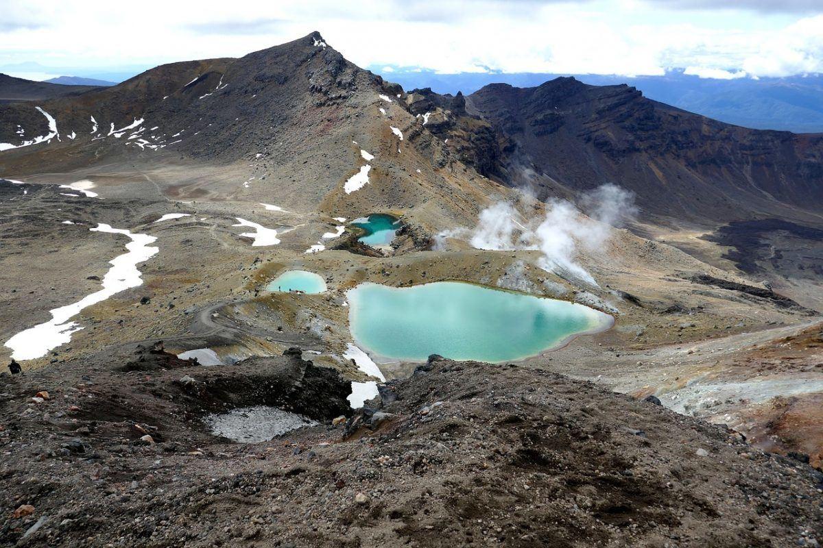 Emerald Lakes on the Tongariro hike in New Zealand