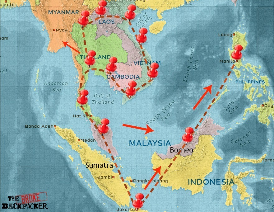 Map of Southeast Asia 6-month backpacking itinerary