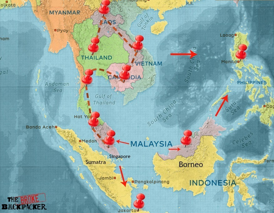 Map of SE Asia Travel Itinerary