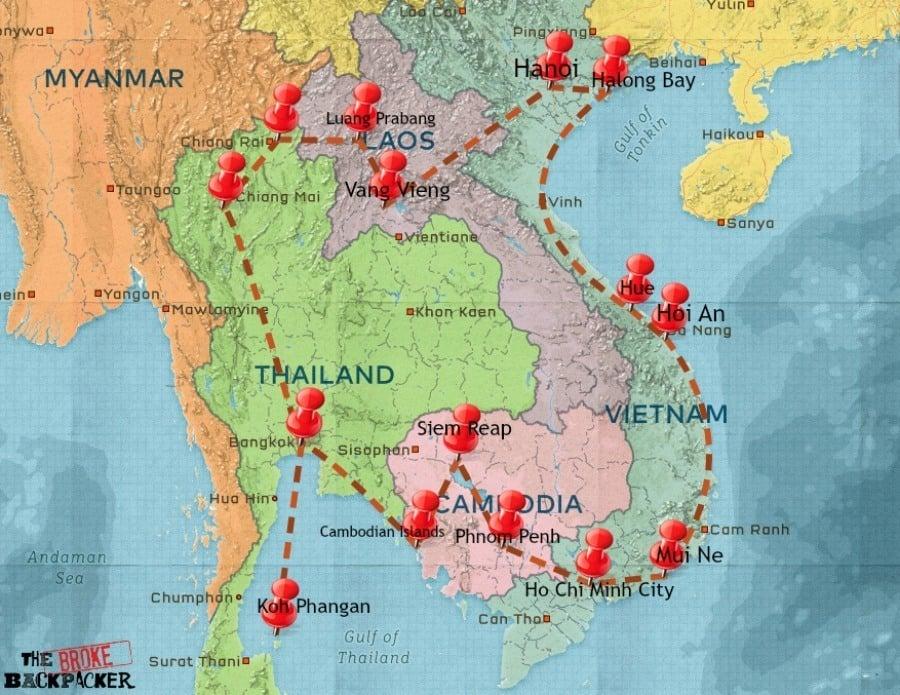 Southeast Asia backpacking itinerary - Banana Pancak Trail map