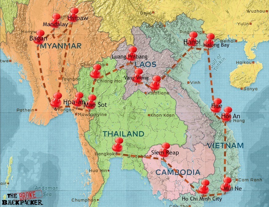 Southeast Asia itinerary travel map