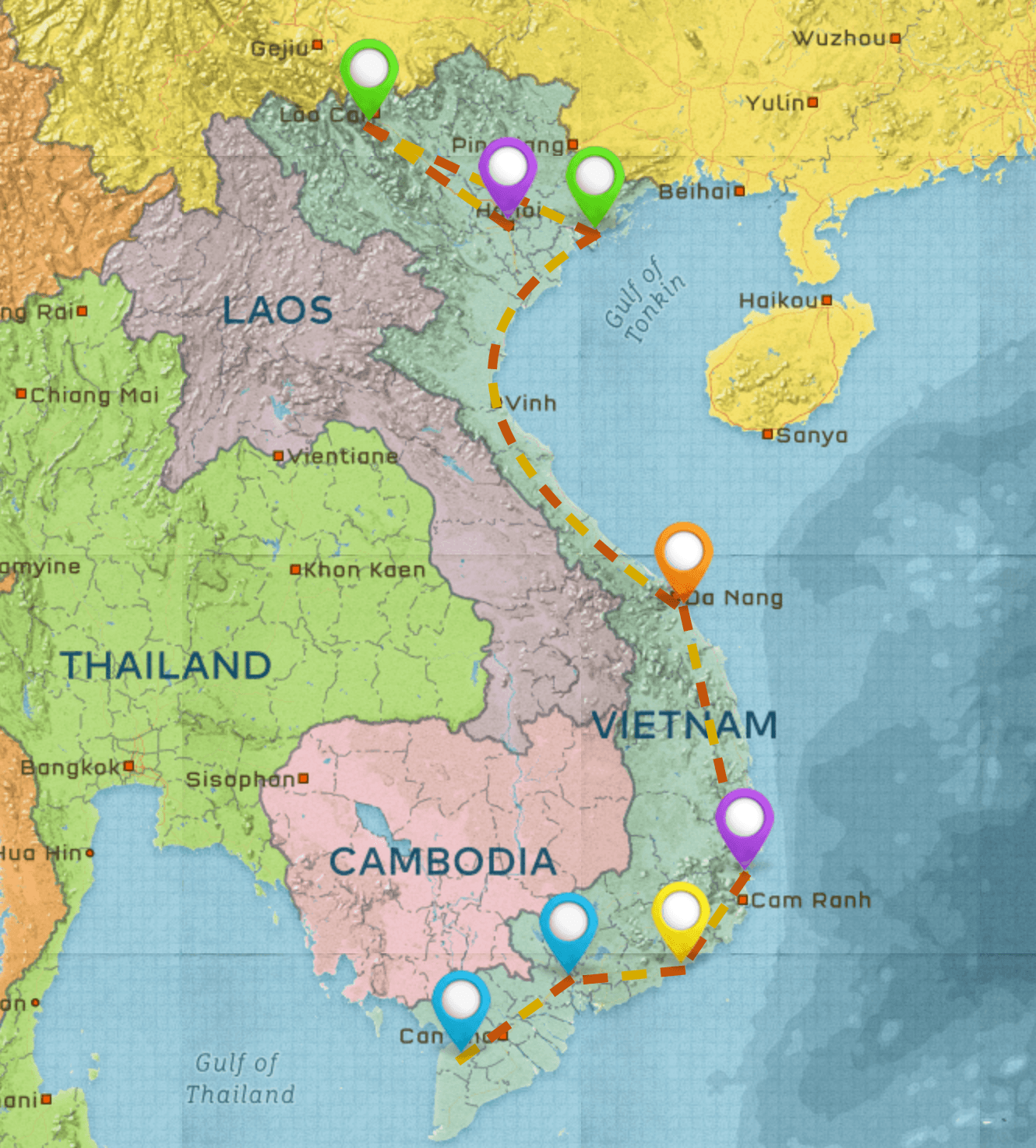 Map of the 1-month Vietnam travel itinerary