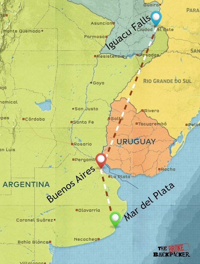 backpacking argentina 1 week itinerary map